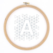 Load image into Gallery viewer, modern iron on embroidery pattern transferred to white fabric, geometric alphabet design