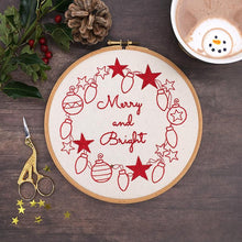 Load image into Gallery viewer, Christmas hand embroidery pattern, Merry and Bright holiday hoop art created from iron on embroidery transfer