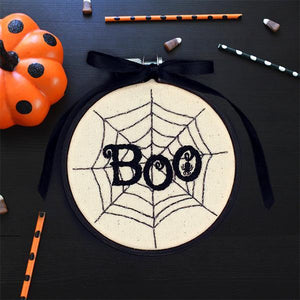 halloween spiders web hand embroidery