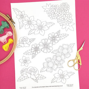 Modern flower embroidery patterns, iron on embroidery transfers, modern designs to customise your clothes and textiles