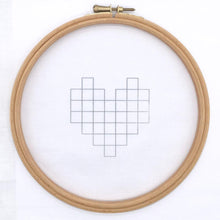 Load image into Gallery viewer, Geometric heart shape iron on embroidery design transferred on to fabric. Modern embroidery pattern