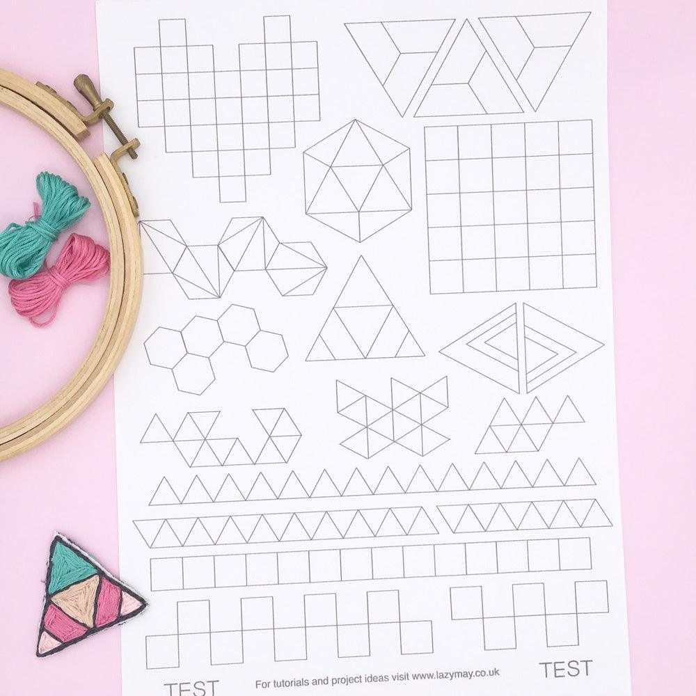 Modern hand embroidery transfer pattern set, geometric designs for ironing on to fabric