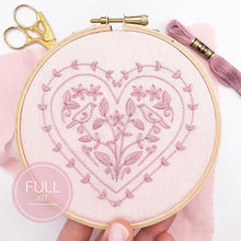 Load image into Gallery viewer, Hearts and Birds: Modern Embroidery Kit