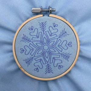 Pre-printed snowflake fabric for hand embroidery
