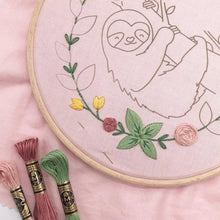 Load image into Gallery viewer, Happy Sloth: Modern Floral Embroidery Kit