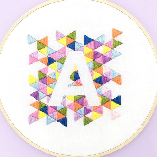 Geometric Alphabet: Personalised Embroidery Hoop Pattern (iron on transfer)