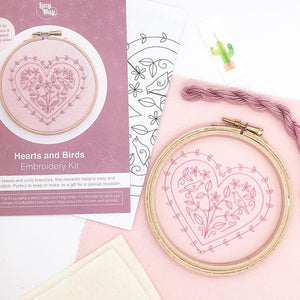 Hearts and Birds: Modern Embroidery Kit