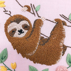 Happy Sloth: Modern Floral Embroidery Kit