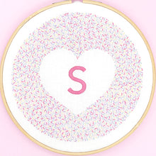 Load image into Gallery viewer, Personalised iron on embroidery pattern, cute pink monogram design ideal for decorating a room or nursery, great new baby gift.