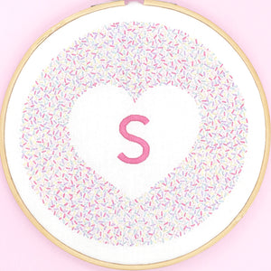 Personalised iron on embroidery pattern, cute pink monogram design ideal for decorating a room or nursery, great new baby gift.