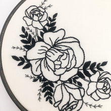 Load image into Gallery viewer, Black Rose Bouquet: Modern Floral Embroidery Kit