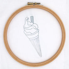 Load image into Gallery viewer, Ice cream embroidery iron on transfer pattern, shown transferred on to white fabric