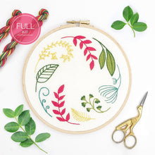 Load image into Gallery viewer, Leaf Wreath Ivory: Modern Floral Embroidery Kit