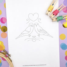 Load image into Gallery viewer, love birds embroidery pattern, two budgies with a heart