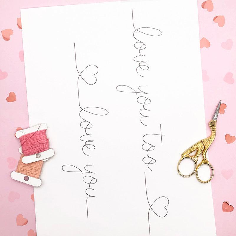 Love You: Iron-On Embroidery Pattern