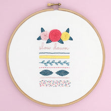 Load image into Gallery viewer, Free modern embroidery sampler pattern. Instant PDF download