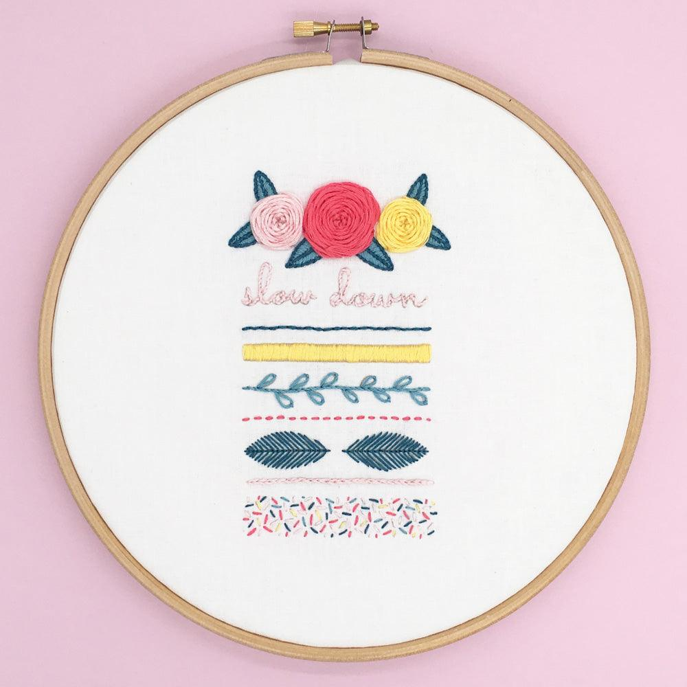 Free modern embroidery sampler pattern. Instant PDF download