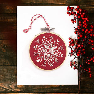 Snowflake Christmas Decoration (Red): Modern Embroidery Kit