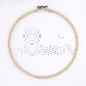 Abstract sea and sun embroidery pattern transferred to fabric, hot iron embroidery transfer