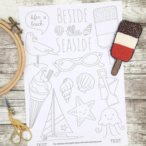 Seaside and beach themed modern embroidery transfers, modern embroidery patterns featuring ices creams boats, shells and more