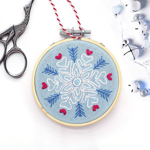 Scandi style snowflake hand embroidered christmas decoration