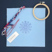 Load image into Gallery viewer, Snowflake Christmas Decoration: Modern Embroidery Kit