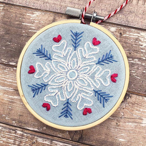 Hand embroidered snowflake Christmas Decoration