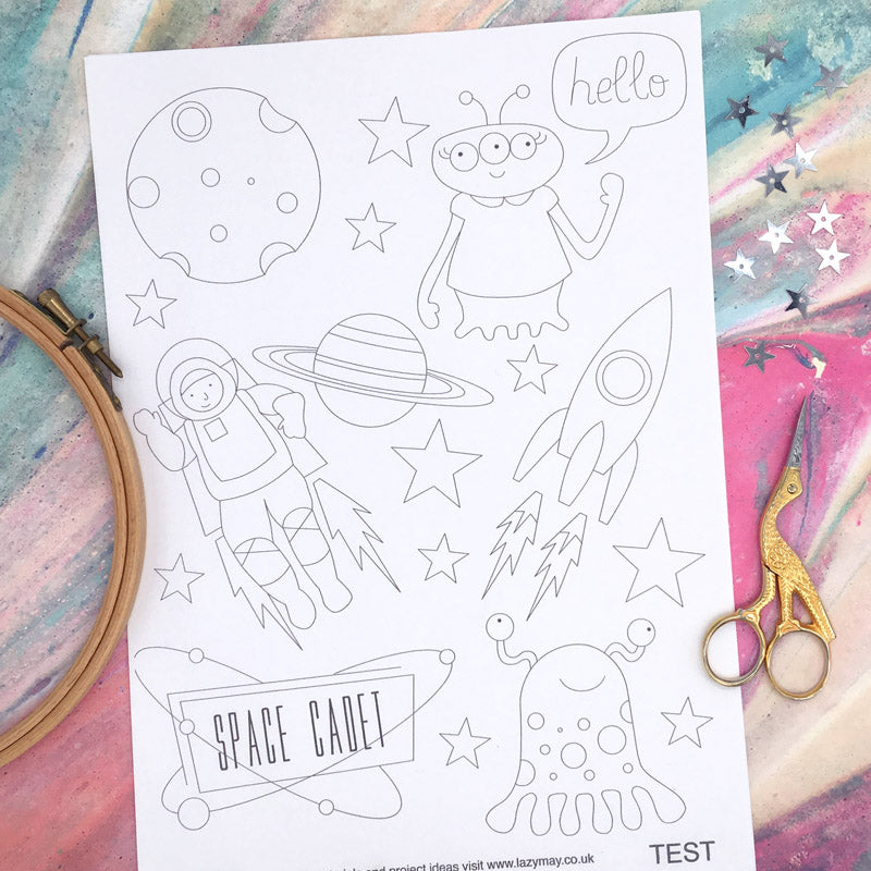 Super Space: Iron-On Embroidery Transfer Patterns