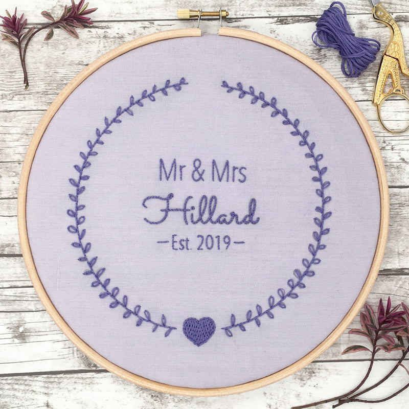 Wedding Wreath: Personalised Embroidery Hoop Pattern (iron on transfer)