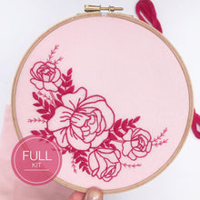 Load image into Gallery viewer, Rose Bouquet: Modern Floral Embroidery Kit