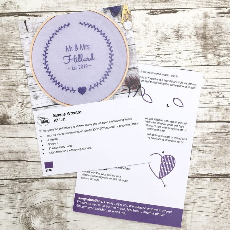 wedding embroidery hoop. Personalised embroidery transfer pattern with full printed instructions
