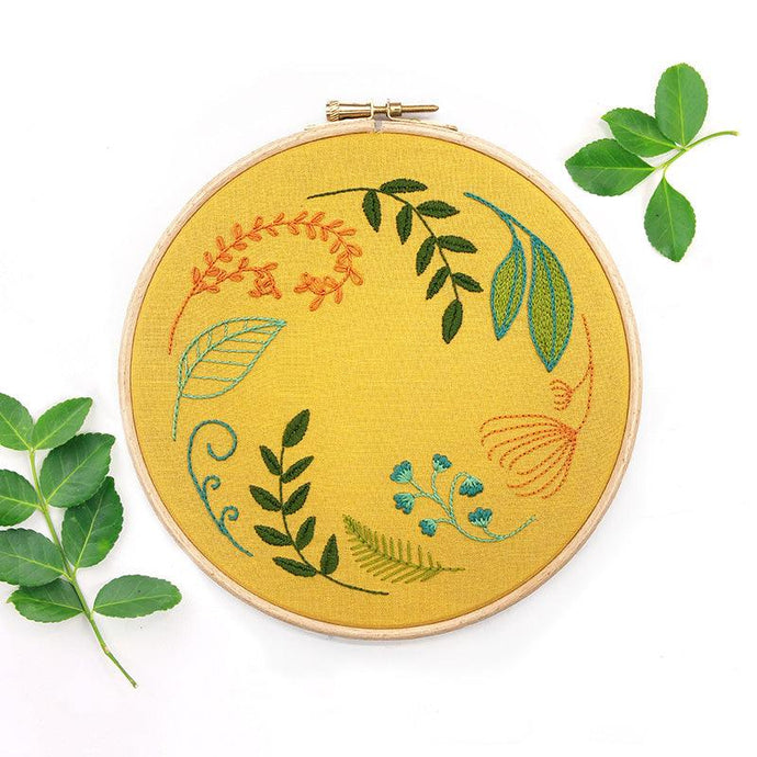 Leaf Wreath: Modern Floral Embroidery Kit