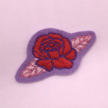 Load image into Gallery viewer, felt flower patch created from Lazy May Fab flowers iron on embroidery transfer patterns