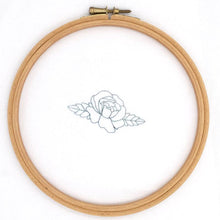 Load image into Gallery viewer, Modern flower hand embroidery transfer on fabric shown in the hoop
