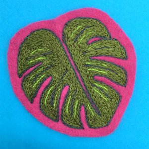 hand embroidered monstera leaf felt patch