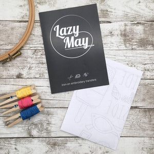 Lazy May Embroidery Beside the seaside transfer pattern pack, comes with full instructions and a beginners embroidery guide