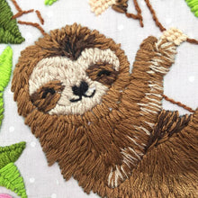 Load image into Gallery viewer, close up of hand embroidered sloth