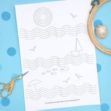 Load image into Gallery viewer, Retro Beach themed embroidery pattern, iron on embroidery transfer sheet