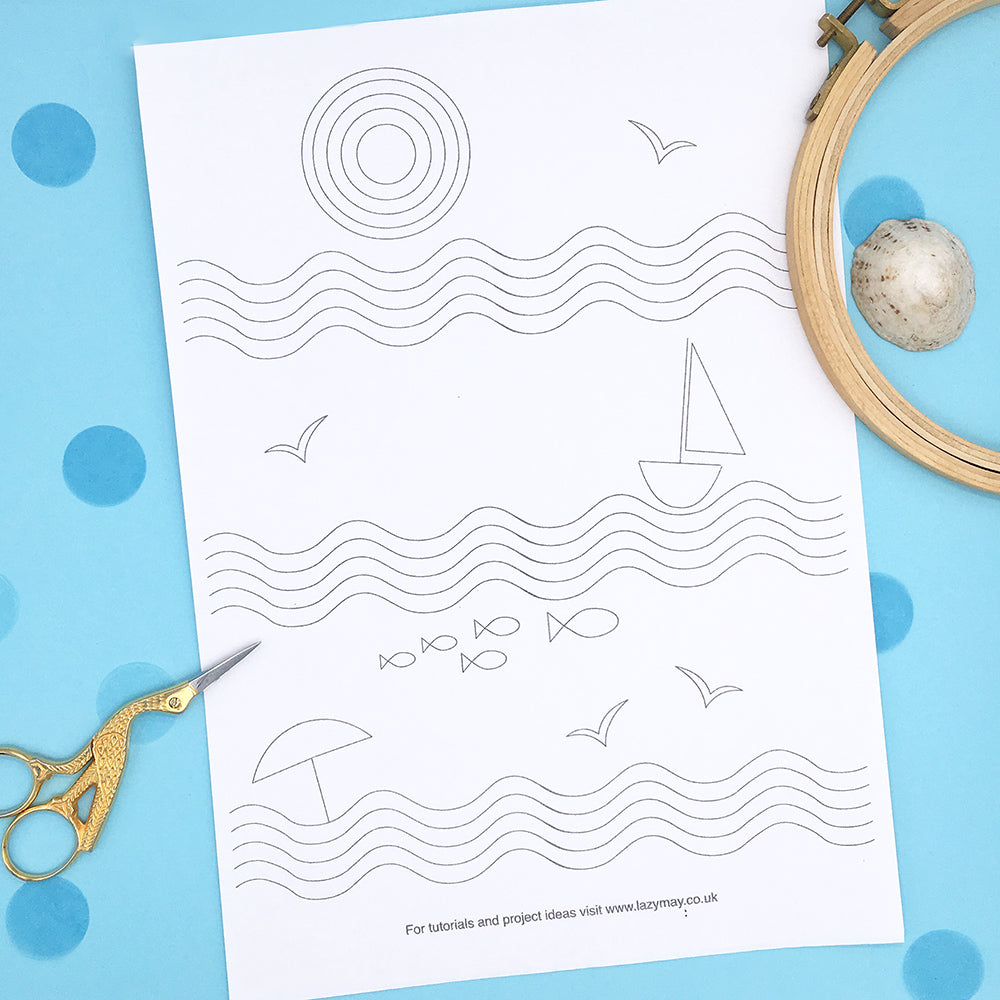 Retro Beach themed embroidery pattern, iron on embroidery transfer sheet