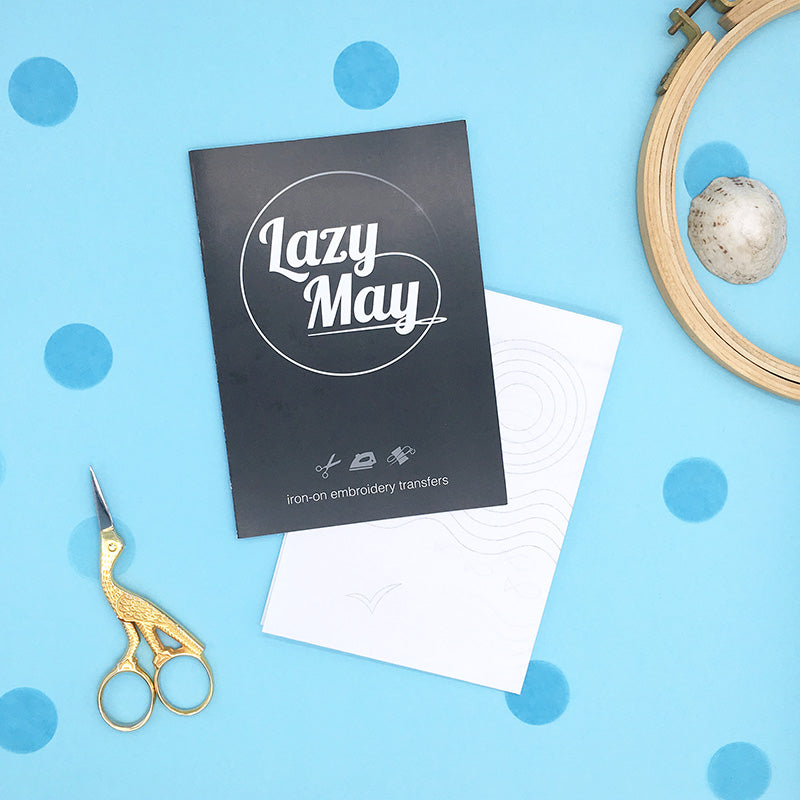 Lazy May Embroidery pattern packaging, sun sea and sand embroidery transfer