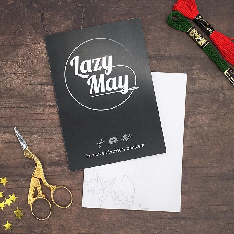 Lazy May Christmas embroidery transfers in packaging, Iron on embroidery patterns with full instructions and an embroidery guide
