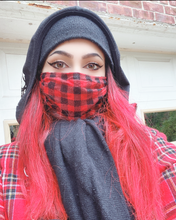 Load image into Gallery viewer, Red Plaid Checkered Flannel Mask
