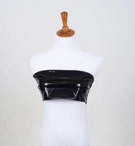 Black Pleather Bandeau Top