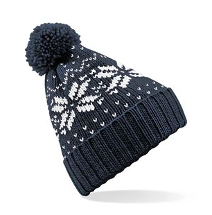 A blue navvy chunky bobble hat with a white snow flake and dark navy bobble.