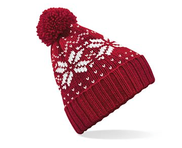 A red beanie hat with white snow flakes and a bobble on top