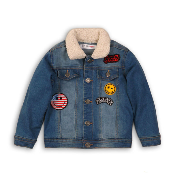 Washed Denim Jacket With Badge Detail