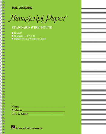 Manuscript Spiral Bound 96 Pages 12 Staves