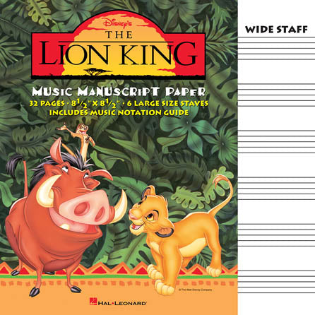 Music Manuscript Book with Wide Staves - The Lion King