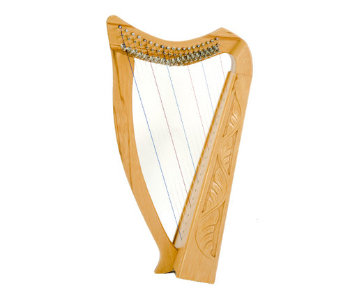 Standing Pixie Harp 19 String Carved Beechwood with Bag