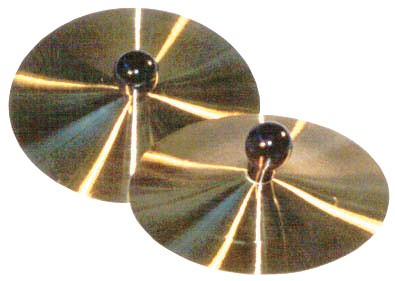 Pair of 5 Inch Brass Cymbals with Wooden Knobs by